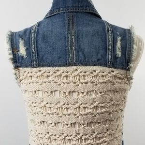 Free People denim and crochet jean vest